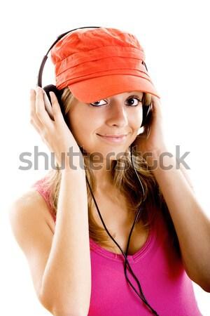 Młoda kobieta słuchać muzyki piękna odizolowany biały Zdjęcia stock © iko