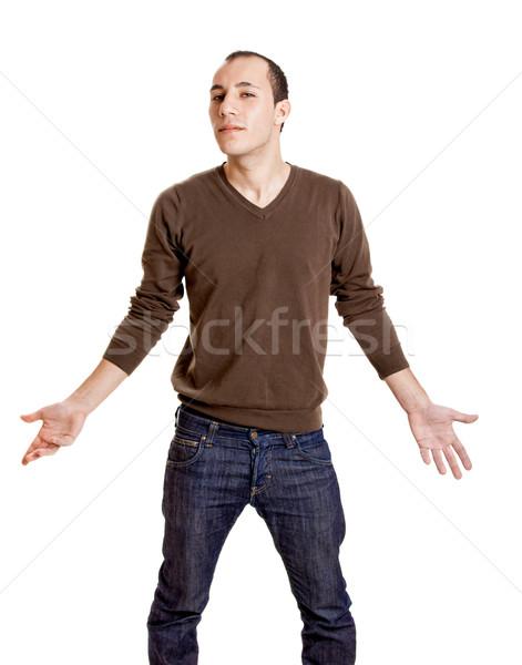 Mi portré fiatalember izolált fehér férfi Stock fotó © iko