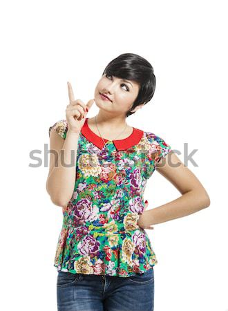 Stock photo: Beautiful girl thinking