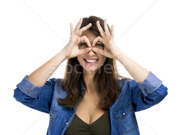 Bobo cara bela mulher mãos olhos Foto stock © iko
