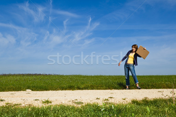 Hitch hiking girl Stock photo © iko