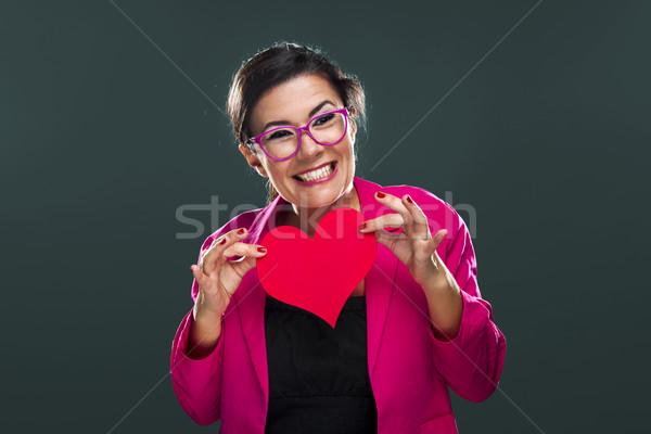 Stockfoto: Grappig · vrouw · hart · blij · gezicht