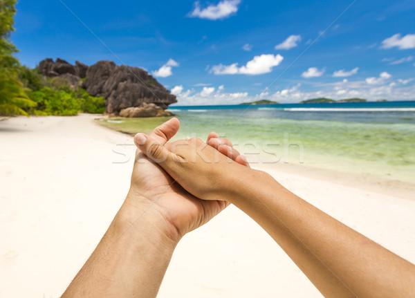 Szczęścia raj ręce wraz świat Seszele Zdjęcia stock © iko