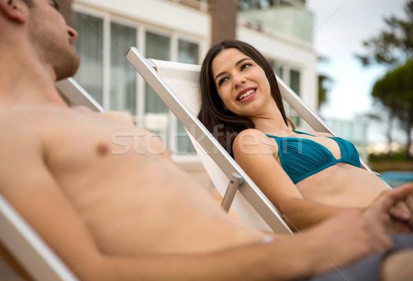 Paar genieten hotel vrouw Stockfoto © iko