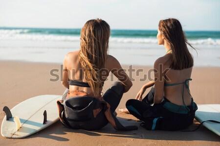 девочек готовый серфинга два красивой Surfer Сток-фото © iko