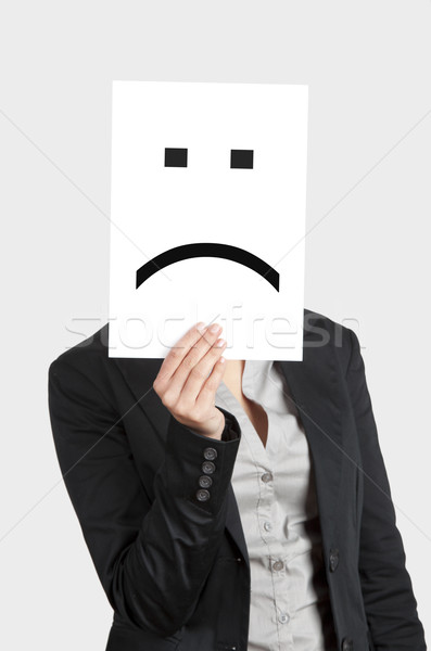 Szomorú arc nő mutat üres papír emotikon Stock fotó © iko
