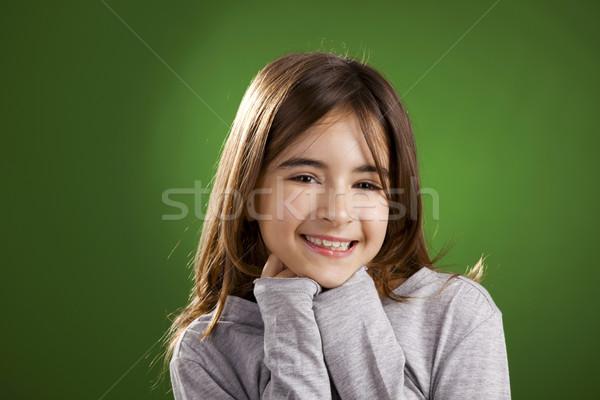 Meisje glimlachend mooie kind camera groene Stockfoto © iko