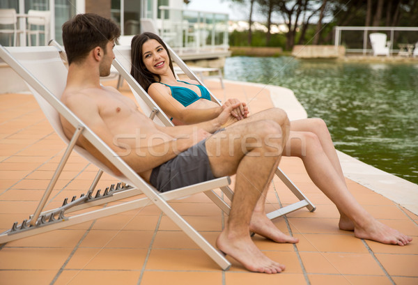 Couple in vacations Stock photo © iko
