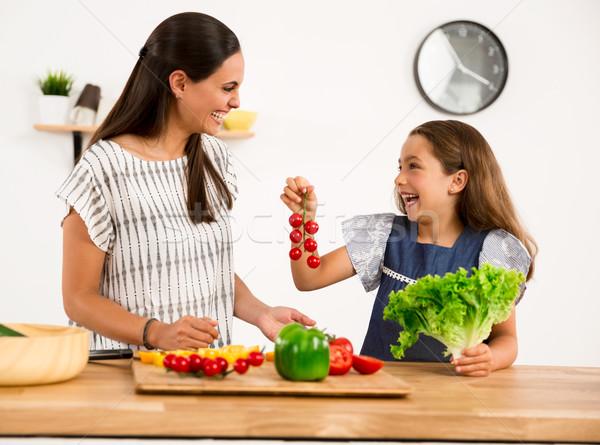 キッチン ショット 母親 娘 女性 ストックフォト © iko