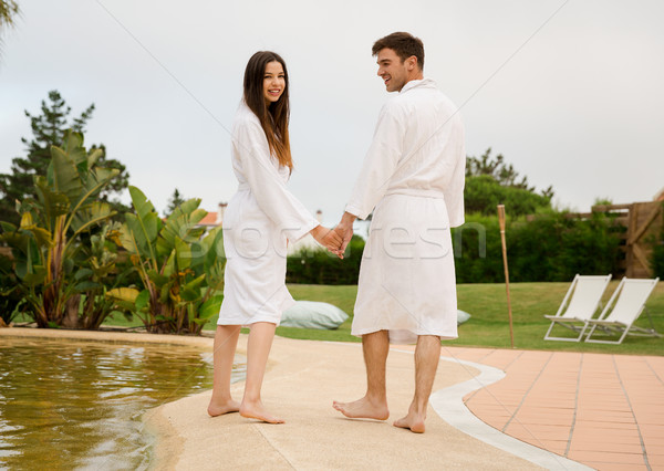 Young couple in a hotel Stock photo © iko