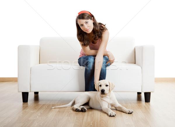 Dziewczyna najlepszy przyjaciel młodych piękna kobieta domu cute Zdjęcia stock © iko