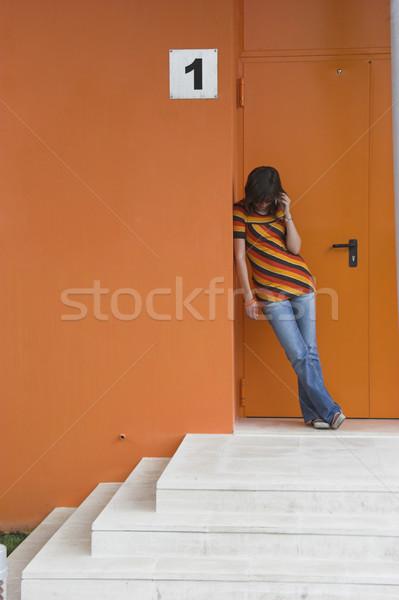 космополитический девушки говорить телефон бизнеса Сток-фото © iko