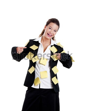 Vergessen Geschäftsfrau gelb isoliert weiß Business Stock foto © iko