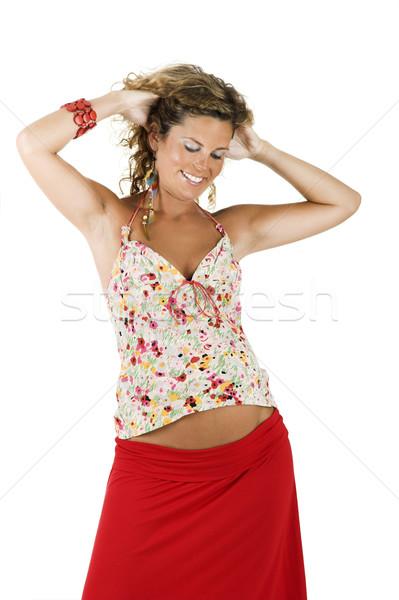 Gelukkig zwangere vrouw mooie vrouw zwangere geïsoleerd witte Stockfoto © iko