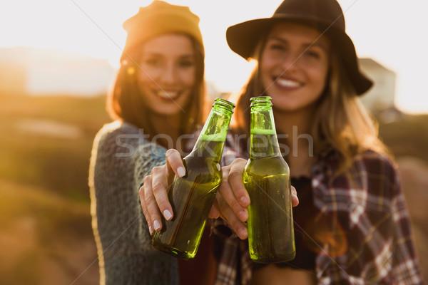 Foto stock: Vida · brindis · dos · mejores · amigos