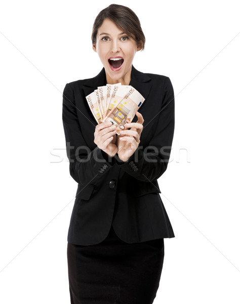 Woman holding euro currency notes Stock photo © iko