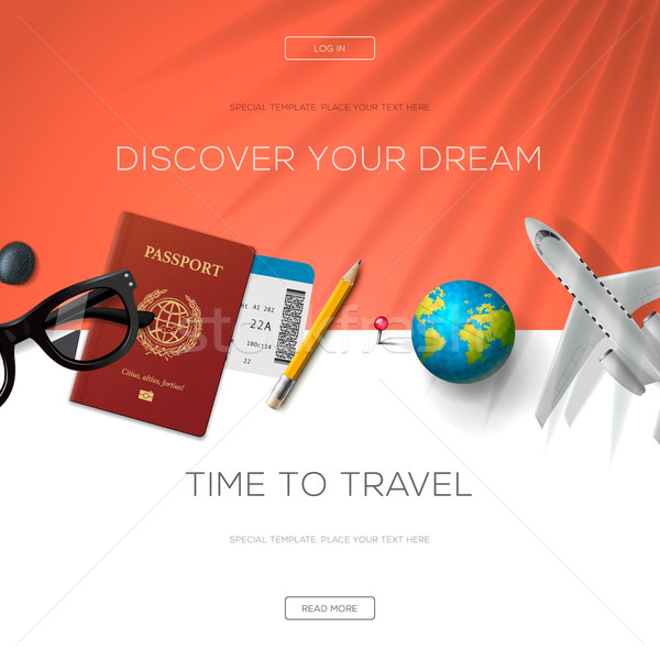 Tourism website template, time to travel Stock photo © ikopylov