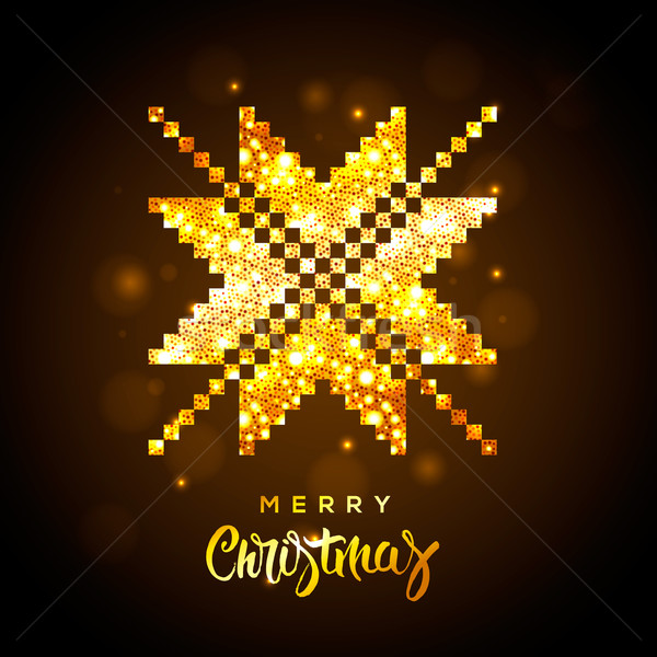 Golden Christmas glittering star shaped ornament Stock photo © ikopylov