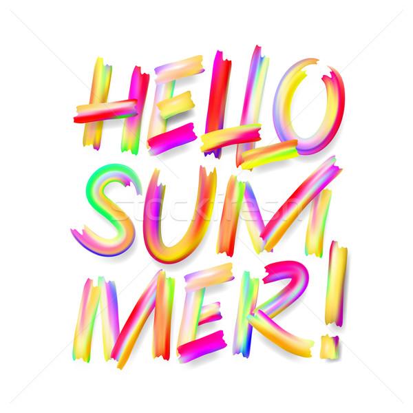 Hello nyár tipográfiai terv izolált fehér Stock fotó © ikopylov