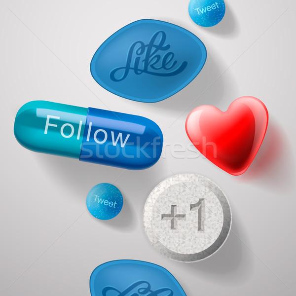 Médias sociaux dépendance pilules capsules isolé vecteur Photo stock © ikopylov