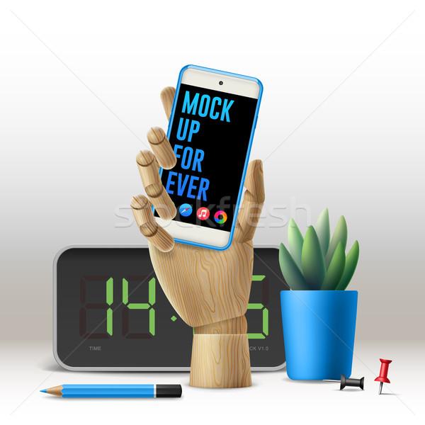 Werkruimte omhoog telefoon business bloem papier Stockfoto © ikopylov