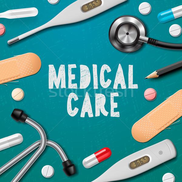 медицинская помощь медицина шаблон медикаменты врач медицинской Сток-фото © ikopylov