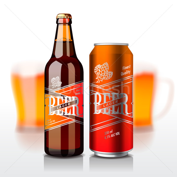 Beer bottle and can Stock photo © ikopylov