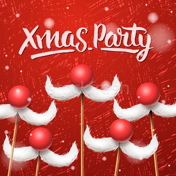 Christmas Party card, Santa Claus moustache Stock photo © ikopylov