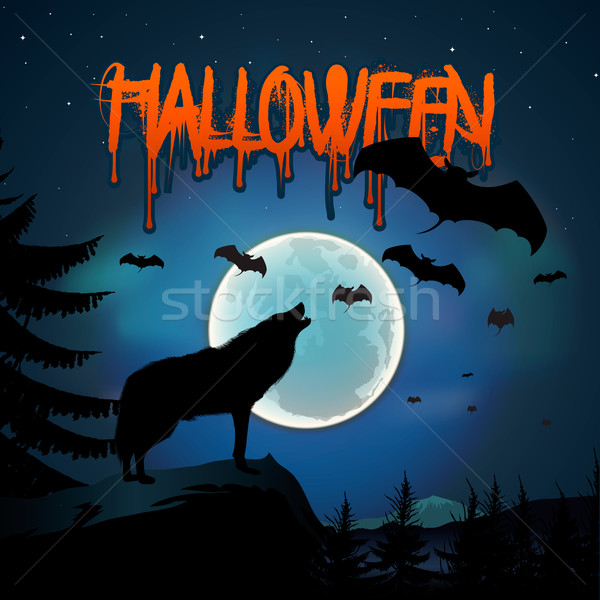 Halloween background with the wolf howls of moon Stock photo © ikopylov