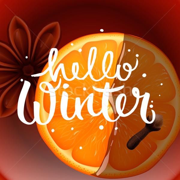 привет зима Рождества чай специи оранжевый Сток-фото © ikopylov