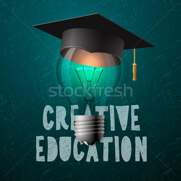 Creative education design, bulb with mortarboard Stock photo © ikopylov