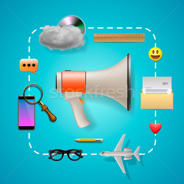 Digital marketing, speaker and icons Stock photo © ikopylov