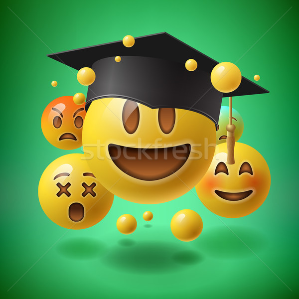 Concept for graduation, group of smiley emoticons Stock photo © ikopylov