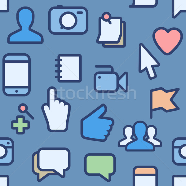 Social media iconen business computer wereldbol Stockfoto © ikopylov