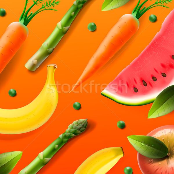 Vegetáriánus étel minta étel gyümölcs zöldségek alma Stock fotó © ikopylov