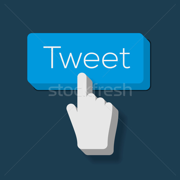 Tweet bouton main curseur vecteur Photo stock © ikopylov