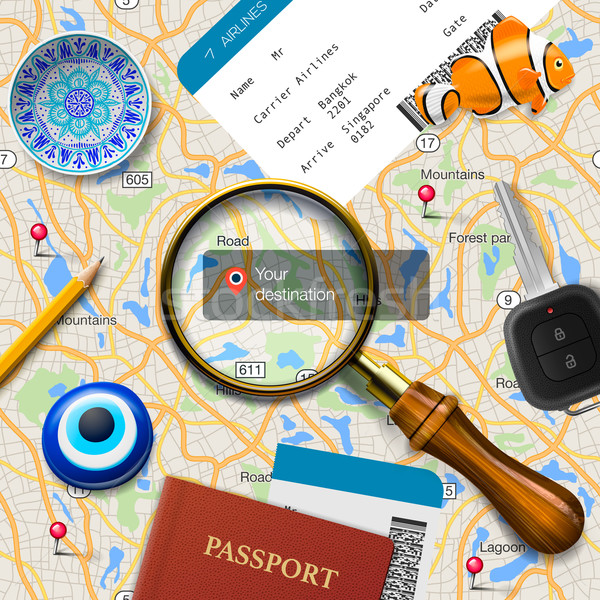 Travel concept. Navigation - You are here. International passport, boarding pass, tickets, magnets a Stock photo © ikopylov