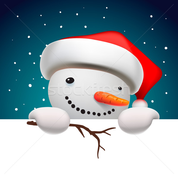 Cute funny snowman holding white page, greeting Christmas card Stock photo © ikopylov