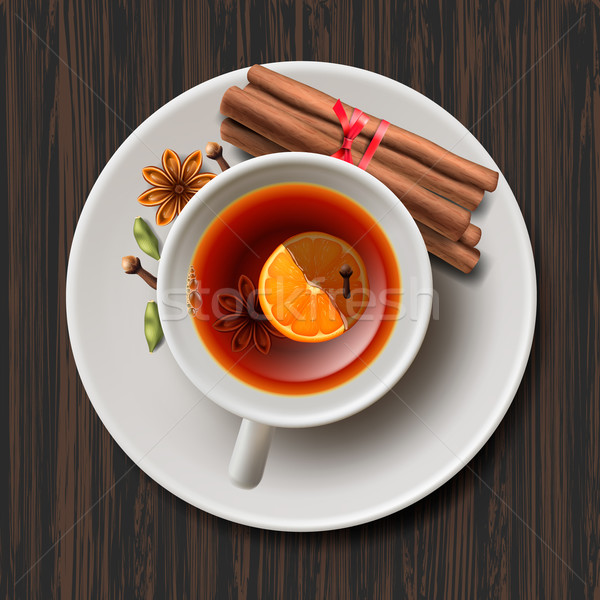 Christmas tea with spices, aromatic mulled wine Stock photo © ikopylov