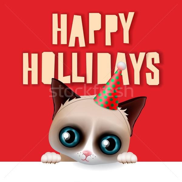 Heureux vacances carte amusement grincheux chat Photo stock © ikopylov