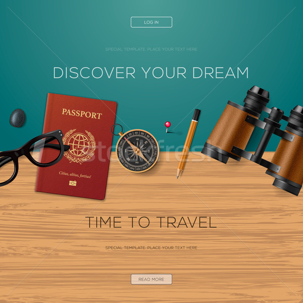 Travel and adventure template, discover your dream Stock photo © ikopylov