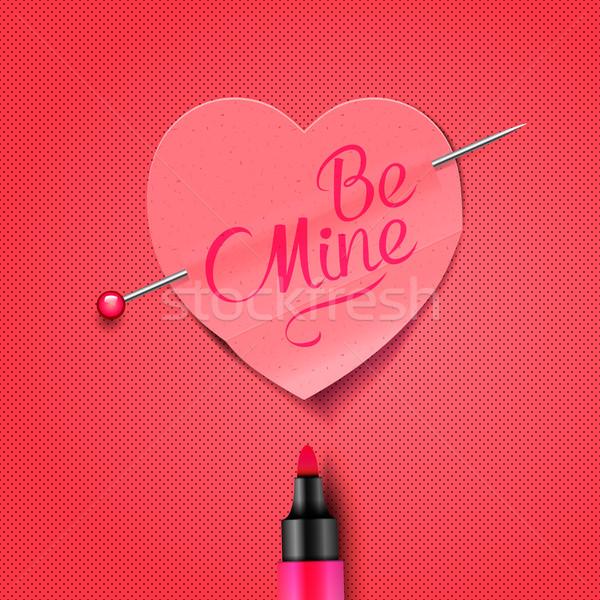Be Mine - written by marker on red paper heart sticker Stock photo © ikopylov