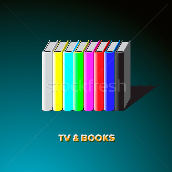 Stock photo: Row of books made tv-colorful no signal background