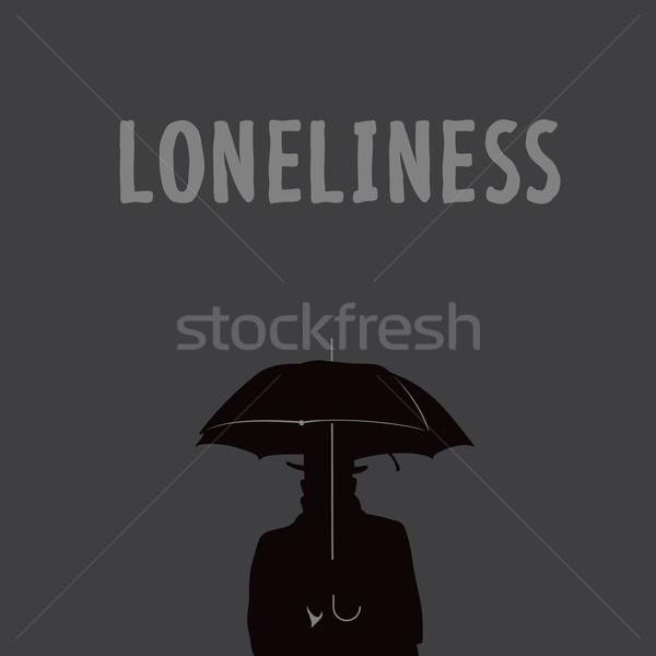 Siluet yalnız adam şemsiye vektör eps10 Stok fotoğraf © ikopylov