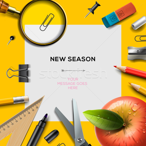 New school season template with office supplies Stock photo © ikopylov
