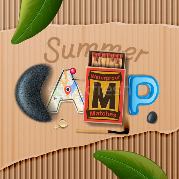 Nyári tábor poszter vektor eps10 illusztráció fa Stock fotó © ikopylov