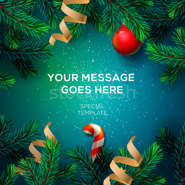 Wesoły christmas kartkę z życzeniami jodła rodziny Zdjęcia stock © ikopylov