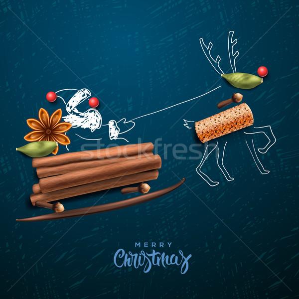 サンタクロース 飛行 そり 陽気な パーティ ストックフォト © ikopylov
