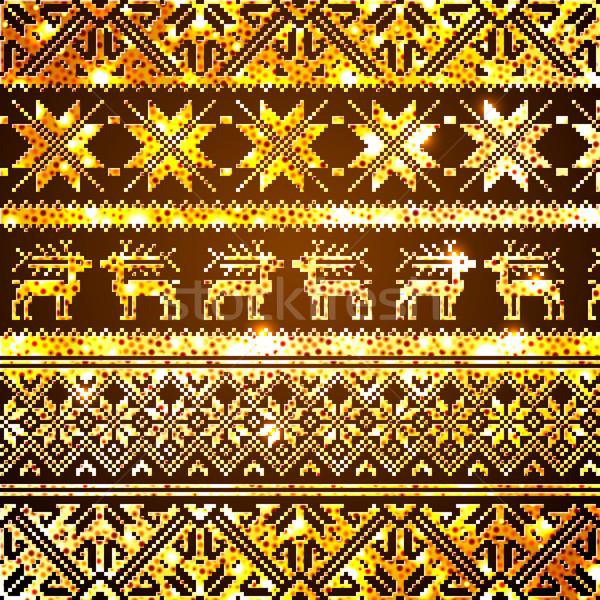 Noruega natal sem costura vetor dourado textura Foto stock © ikopylov