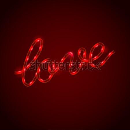Liebe rot glühend neon Licht Zeichen Stock foto © ikopylov